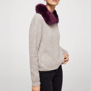 MNG faux fur color sweater
